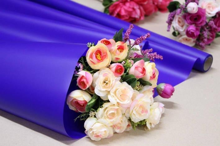 Калька для цветов - матовая флористическая пленка 70см*10м Синяя, фото 2