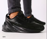 Кроссовки мужские черные с черными вставками из натуральной кожи, фото 1