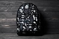 Черный городской рюкзак с принтом найк со следами, реплика, фото 1