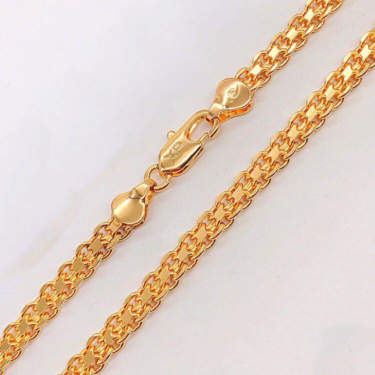 "Цепочка Xuping Jewelry 60 см х 5 мм ""Итальянский Бисмарк"" медицинское золото, позолота 18К. А/В 3910"