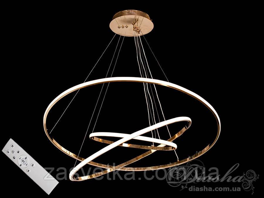 LED люстра подвес кольца с диммером, 150W MD7990-3AG-800+600+400 dimmer (хром,золото)