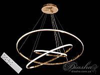 LED люстра подвес кольца с диммером, 150W MD7990-3AG-800+600+400 dimmer (хром,золото), фото 1