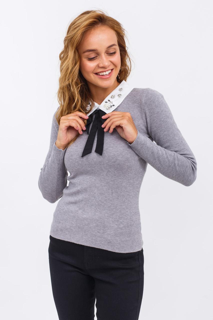 Женская кофта-блузка с воротником LUREX - серый цвет, S/M (есть размеры)