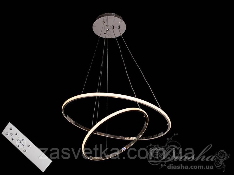 LED люстра підвіс кільця з діммером, 90W MD7990-2AG-600+400 dimmer (хром,золото)