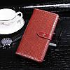 Чехол Croc для Xiaomi Redmi 6A книжка кожа PU красно-коричневый