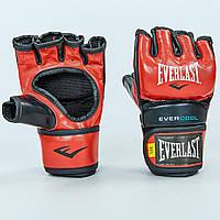 Перчатки для смешанных единоборств MMA PU EVERLAST  EVERSTRIKE (р-р M-L, красный-черный), фото 1