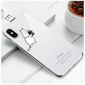 """Чехол TPU прозрачный, мягкий с изображением """"Белый Бегемотик"""" iPhone 6/6S"""