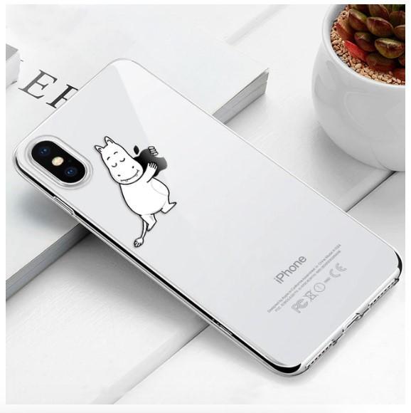 """Чехол TPU прозрачный, мягкий с изображением """"Белый Бегемотик"""" iPhone 7/8"""