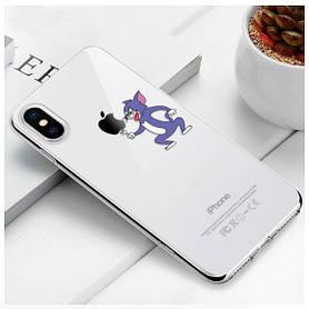 """Чехол TPU прозрачный, мягкий с изображением """"Том"""" iPhone 6/6S"""