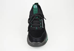 Кроссовки женские черно-зеленые замш-кожа Lonza 80013, фото 3