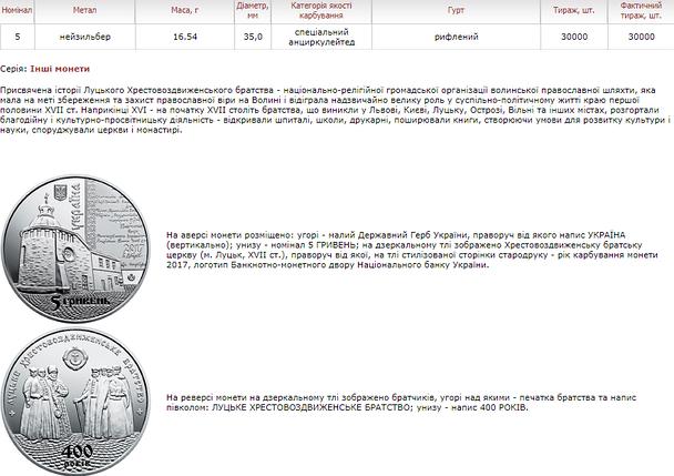 400 років Луцькому Хрестовоздвиженському братству 5 гривень, фото 2