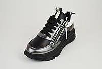 Кроссовки черно-белые кожаные Guero 15519