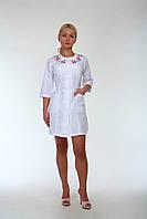 "Медицинский халат женский ""Health Life"" батист белый с вышивкой 2176"