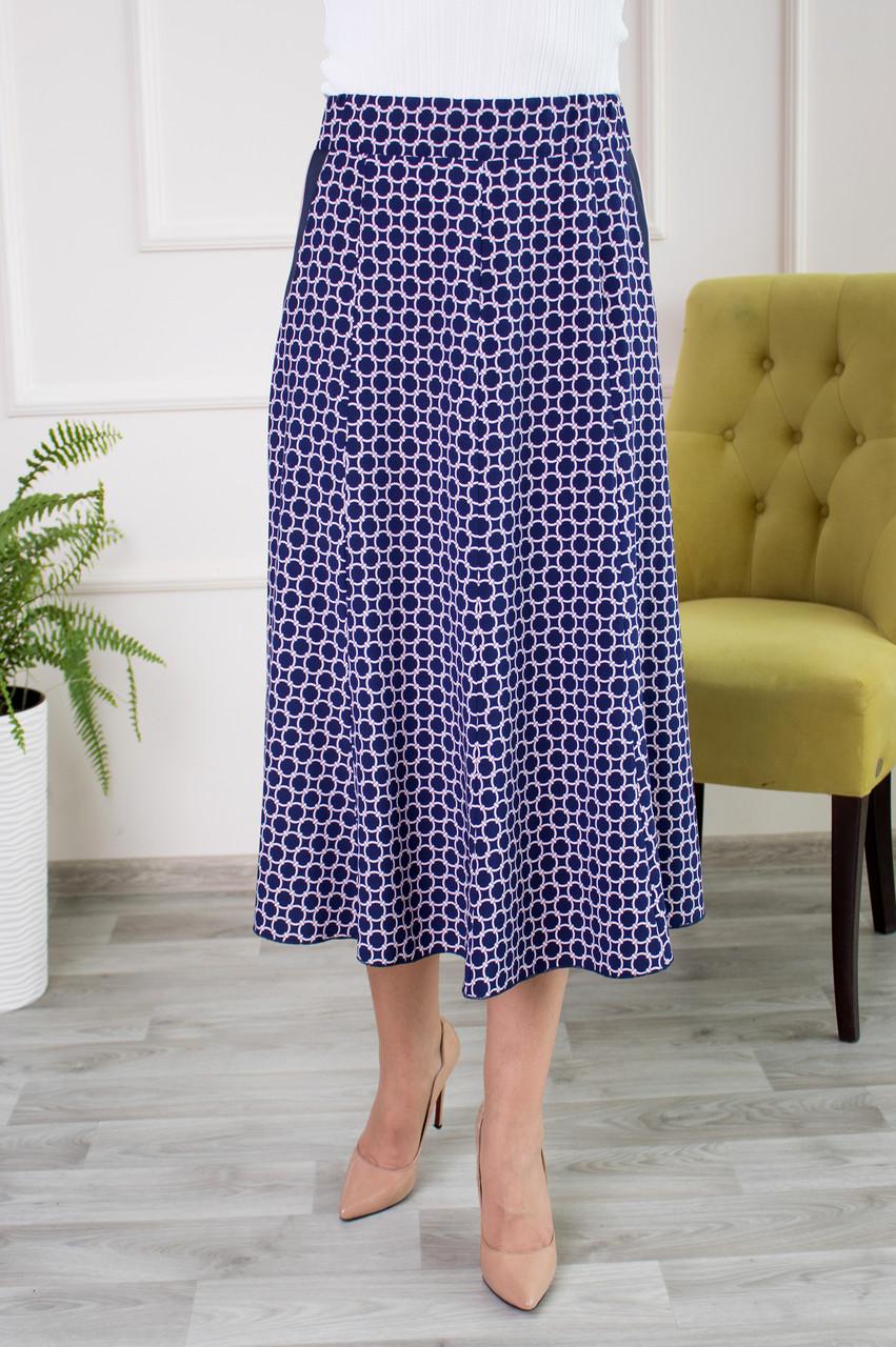 Женская юбка клеш Тая софт синяя з розовый