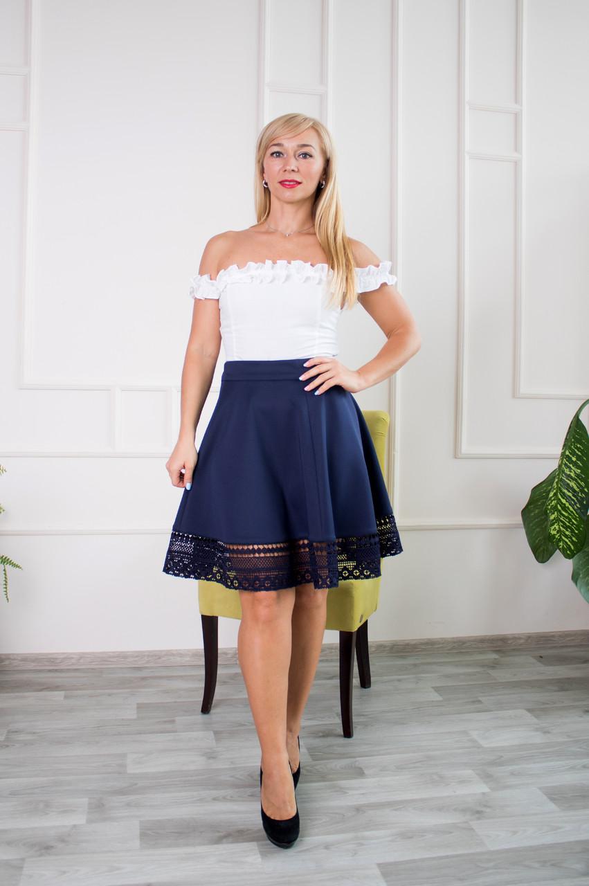 Молодежная юбка Кристал синяя
