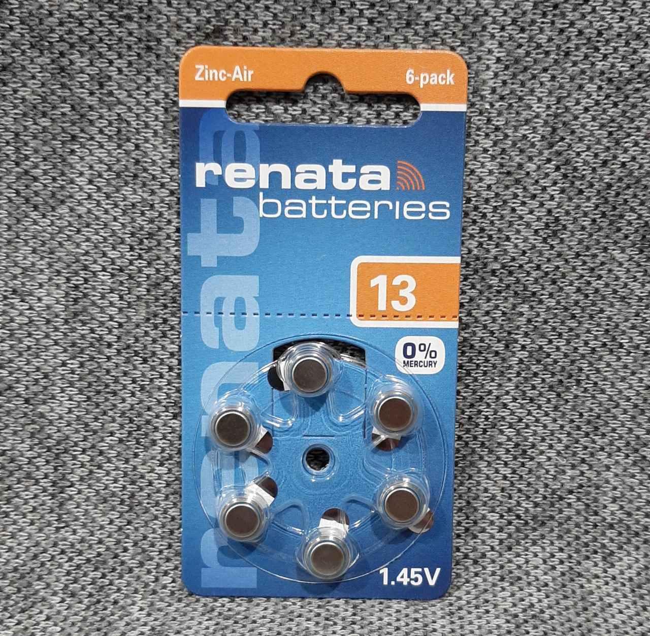 Батарейки renata ZA13 для слуховых аппаратов