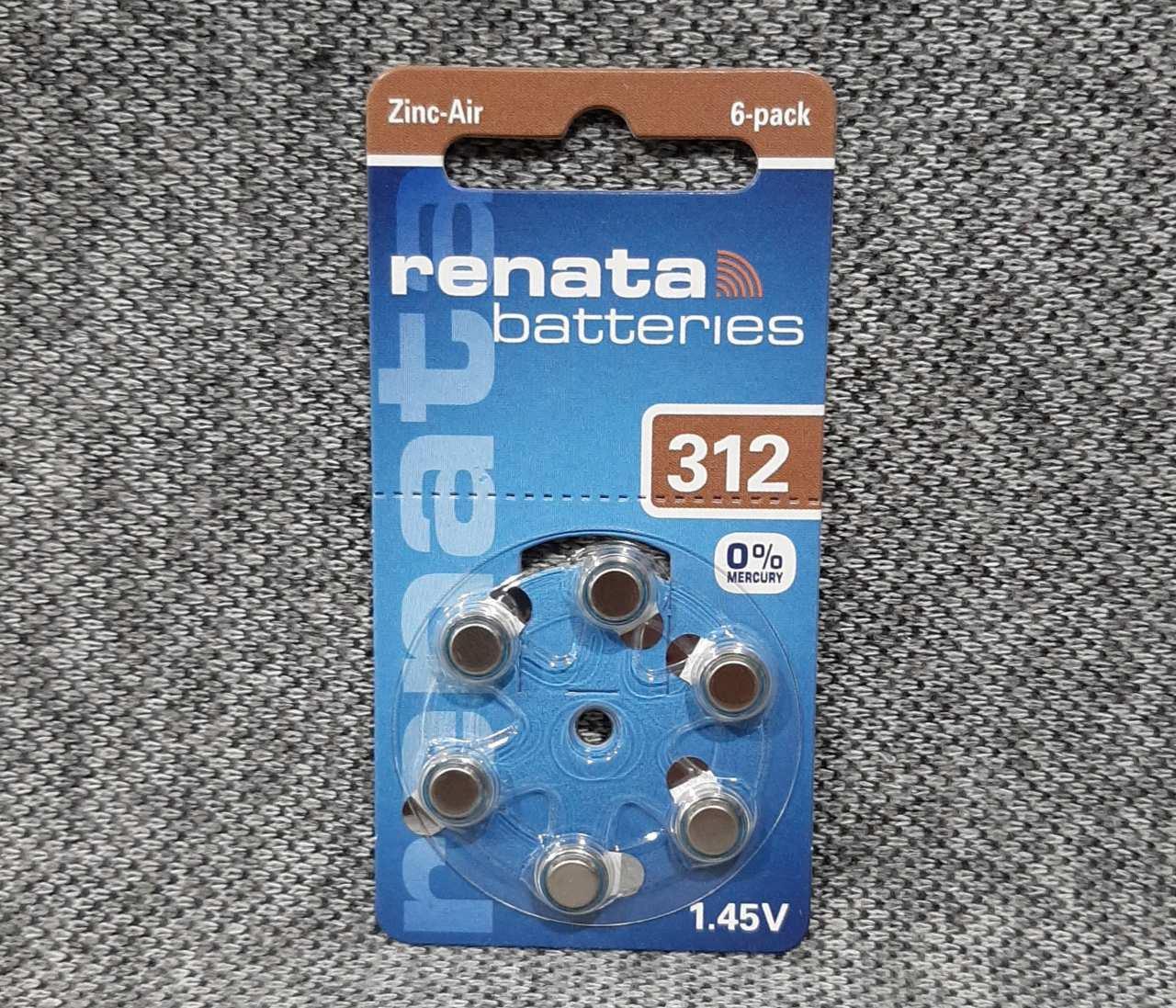 Батарейки renata ZA312 для слухових апаратів