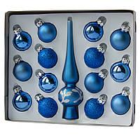 Набор елочных игрушек - шары с мини-верхушкой, 15 шт, D3 см, синий, микс, стекло (390748-4)