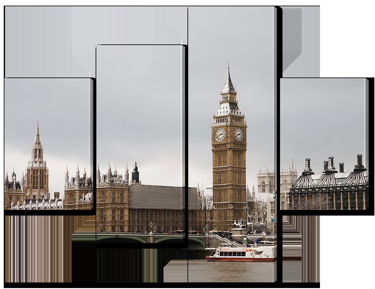 Модульная картина Interno Эко кожа Часовая башня в Лондоне 166x125см (A1126XL)