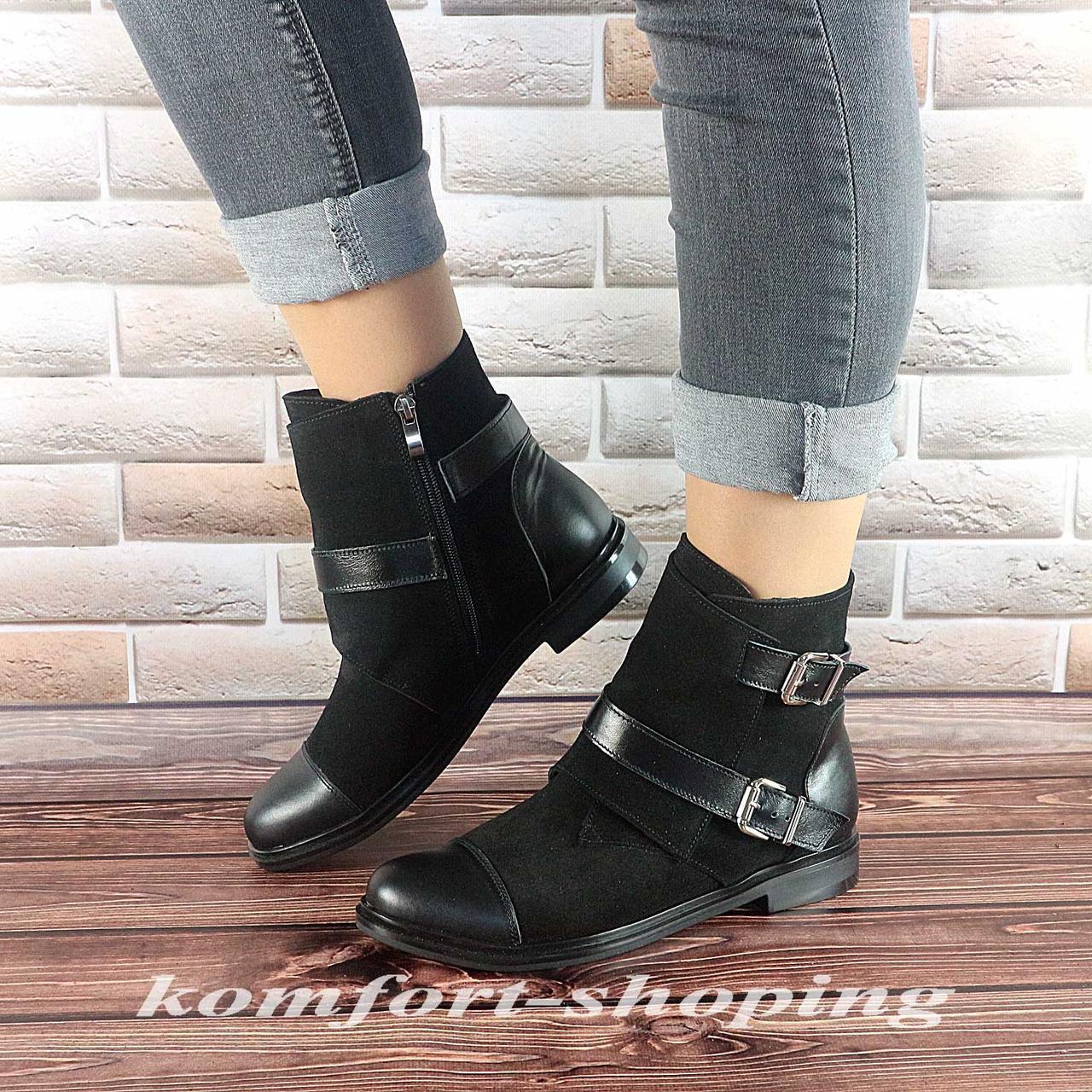 Ботинки женские, замшевые черные   V 1225