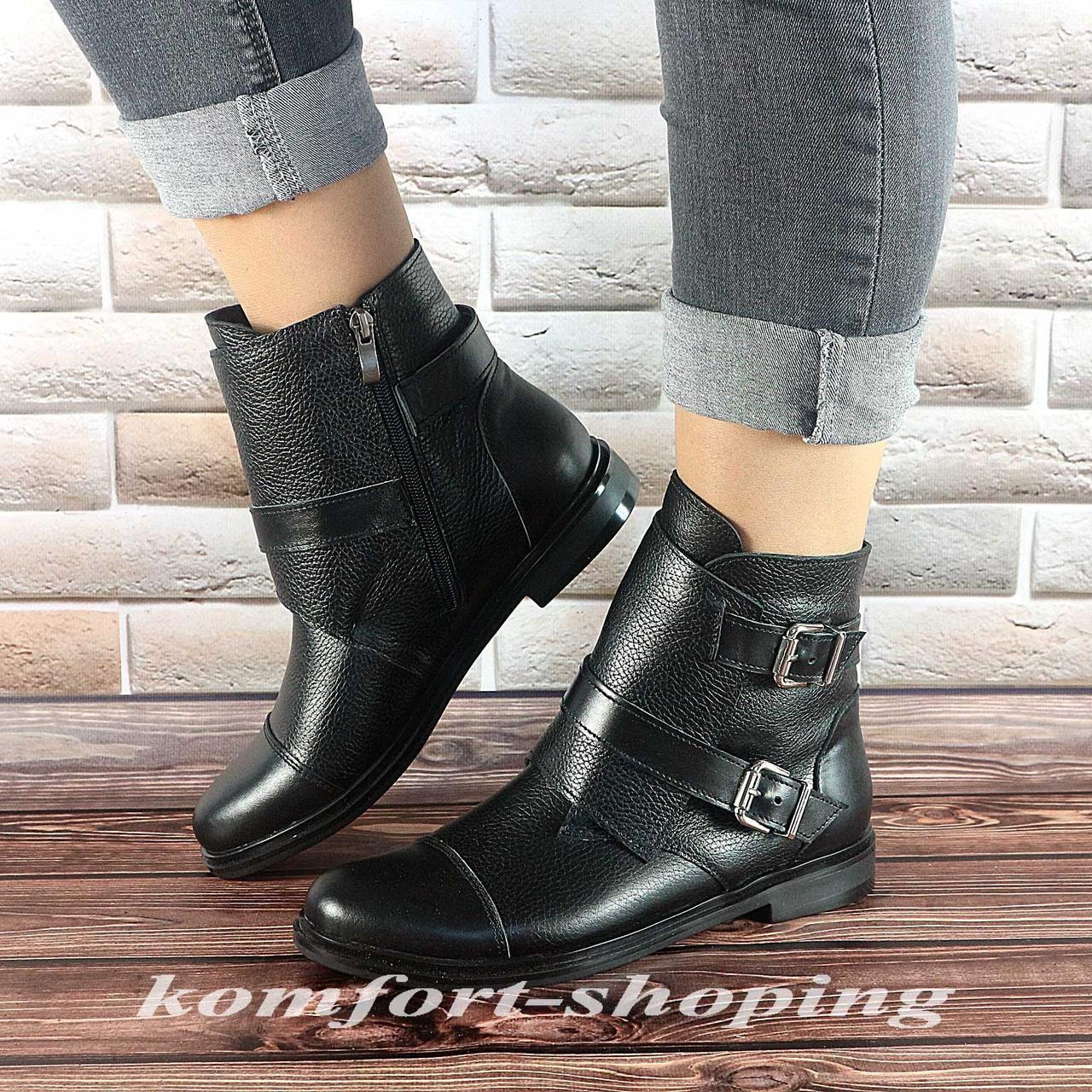 Ботинки женские, кожаные черные   V 1225 (флотар)