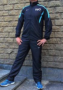 Чёрный мужской спортивный костюм плащевка T90 (Реплика)