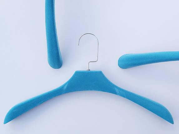 Плечики вешалки тремпеля флокированные (бархатные, велюровые) бирюзового цвета, длина 42 см, фото 2