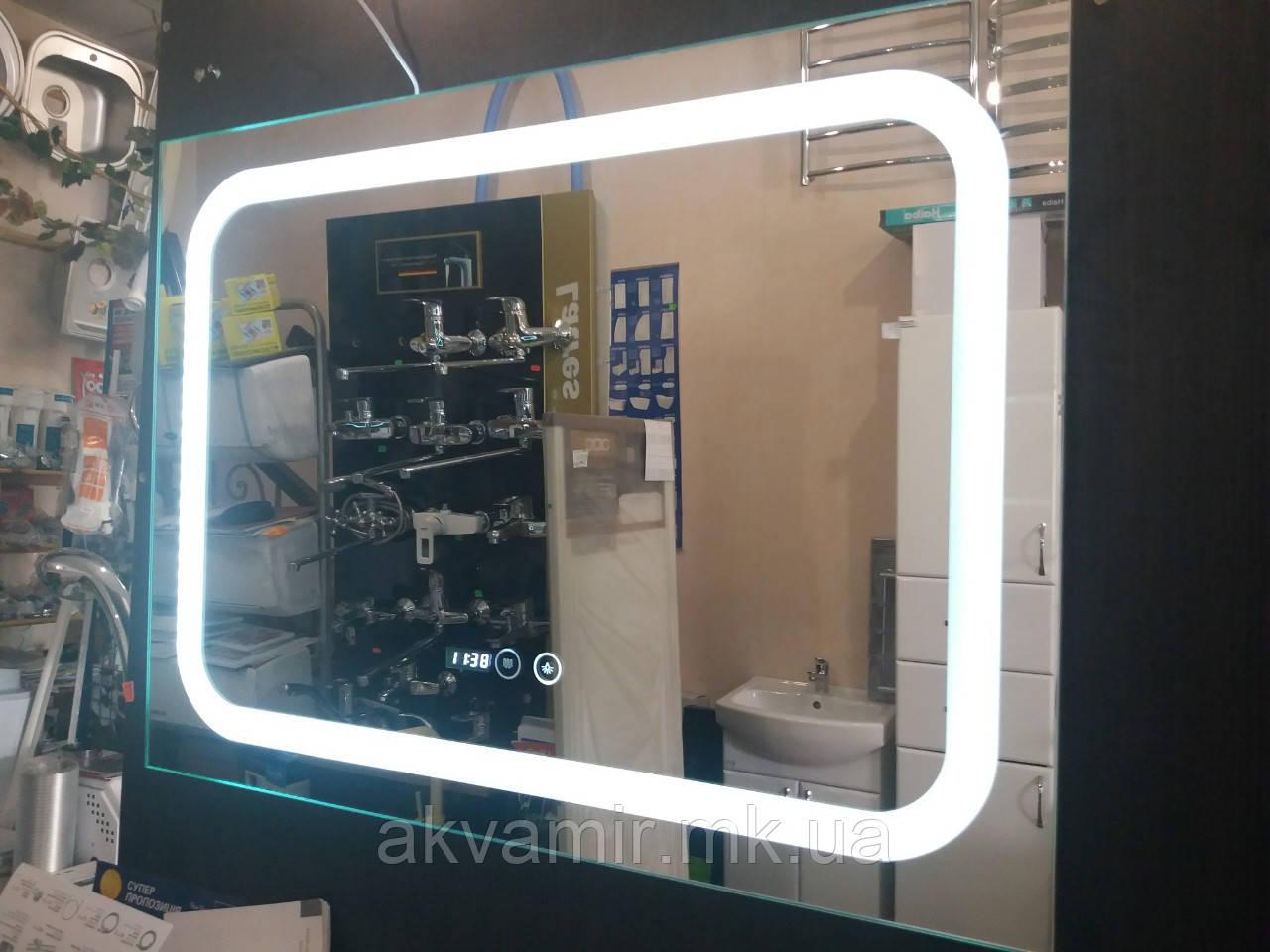 Зеркало с антизапотеванием и часами 800*600 для ванной QT Mideya