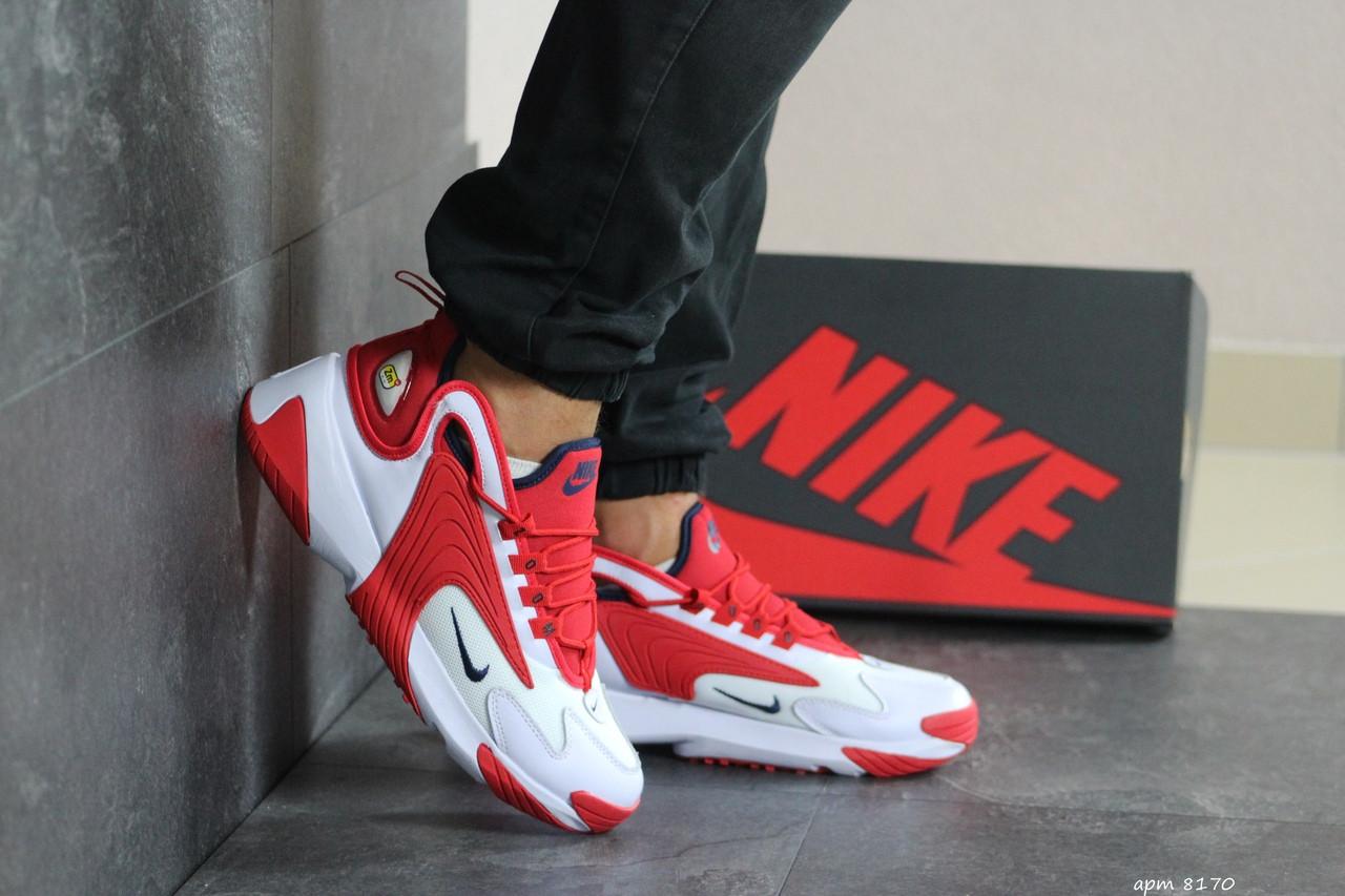 Мужские демисезонные кроссовки Nike Zoom 2K,белые с красным