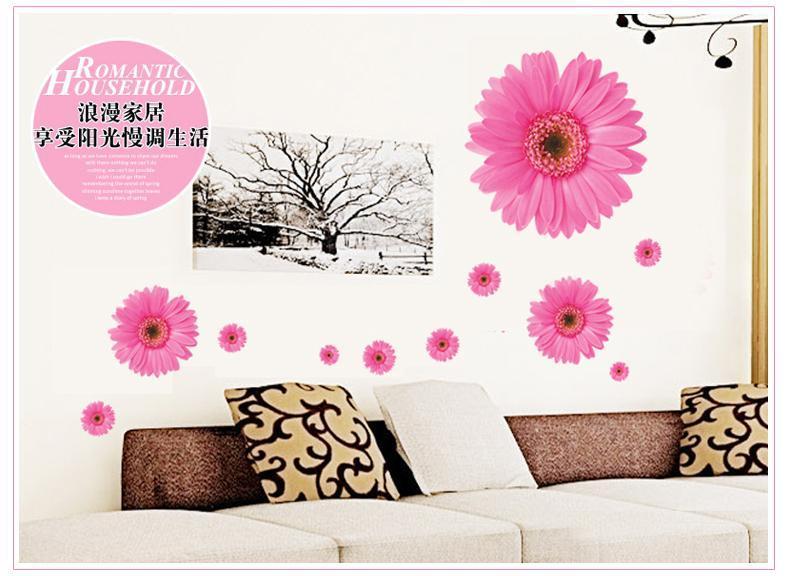 """Интерьерная наклейка """"Цветы герберы"""" розовая, цвет розовый"""