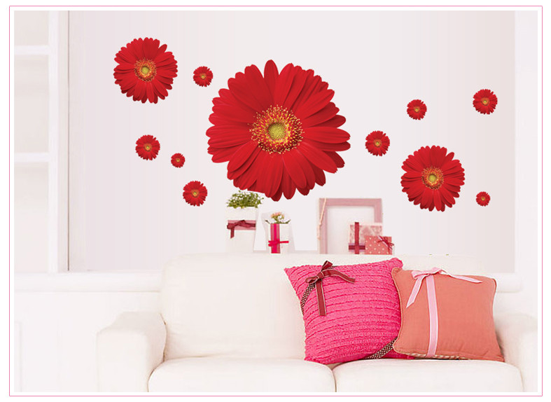 """Интерьерная наклейка """"Цветы герберы"""" розовая, цвет красный"""