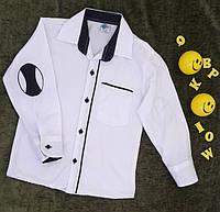 Рубашка  школьная белая на мальчика, р. 6-9 лет