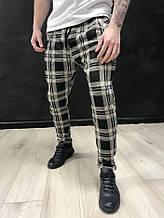 Штаны мужские (брюки) Black island серые в клетку {M}