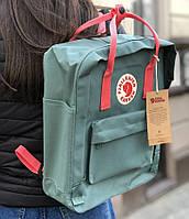 "Городской рюкзак Канкен Fjallraven Kanken Classic 16л ""Frost Green Peach Pink"". Живое фото. Premium Lux"