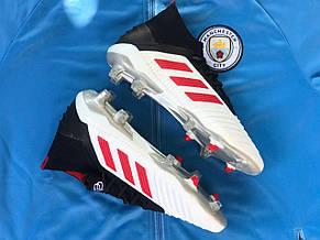Бутсы футбольные Adidas Predator 19+FG Paul Pogba Белые, фото 3