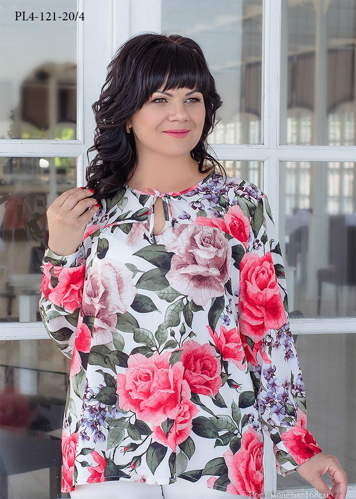 / Размер 52,54,56,58,60,62 / Женская блуза из вискозного шелка прямого силуэта