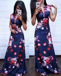 Стильное вечернее платье в пол с декольте без рукава