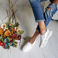 Слипоны женские белые туфли спорт осенние кожаные удобные без каблука размер 35 - 41