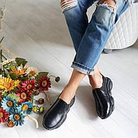 Слипоны женские черные туфли спорт осенние кожаные удобные без каблука размер 35 - 41