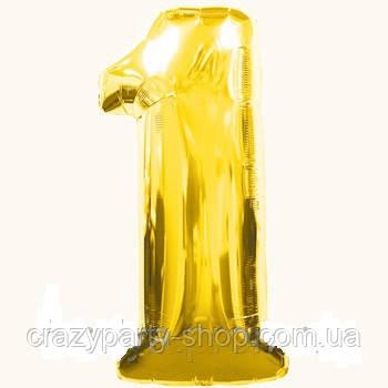Шар фольгированный Цифра 1 Золотистая