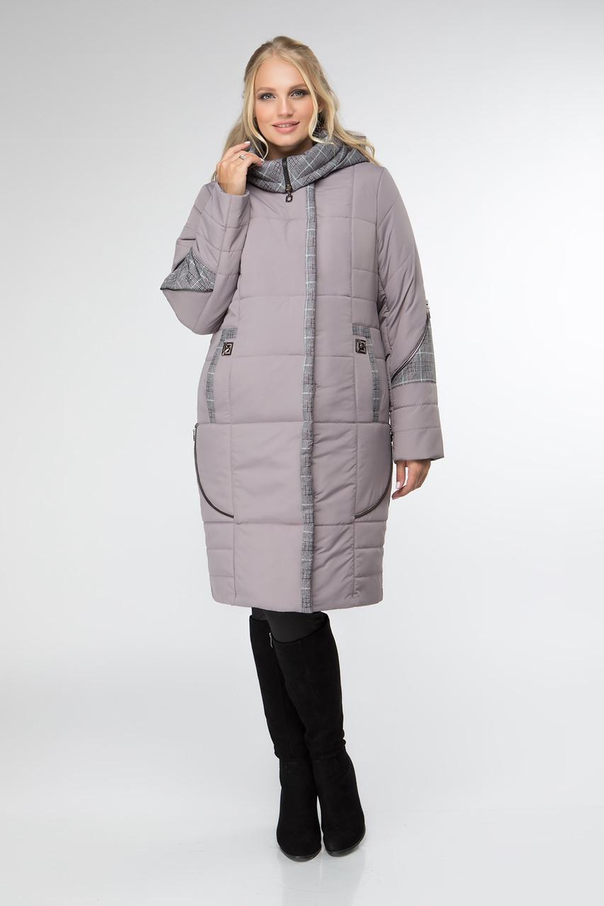 Женская демисезонная куртка удлиненная  52-62 какао