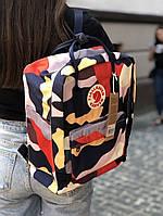 Рюкзак мужской женский школьный на 16 литров камуфляжный стильный от бренда Fjallraven Kanken Канкен
