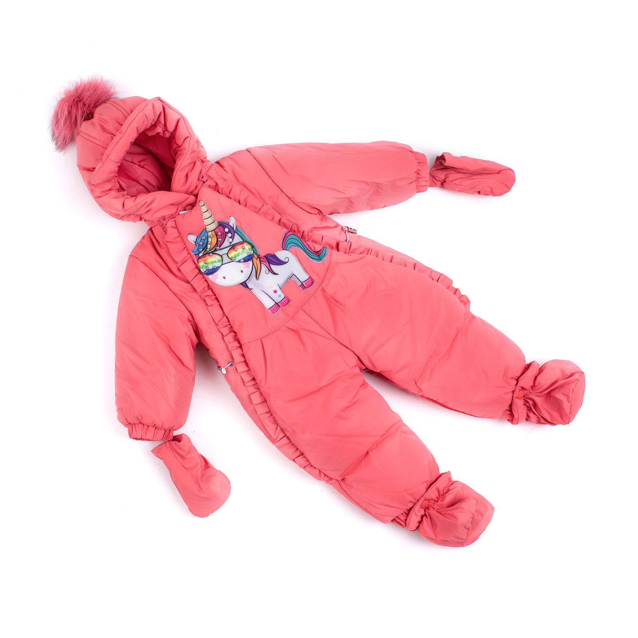 Детские зимние комбинезоны на девочку  для новорожденных 74-86  коралл