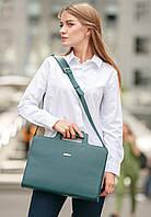 Женская сумка для ноутбука и документов из натуральной кожи зеленая