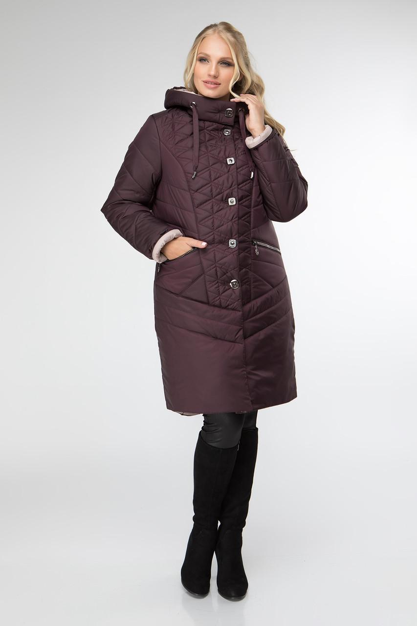 Женская демисезонная куртка больших размеров 50-60 бордовый