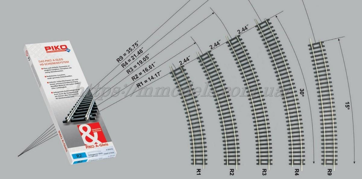 PIKO A-Gleis 55213 Рельсовый материал - Рельсы радиусные R3 ( радиус кривой 483,75 мм 30°, масштаб 1:87