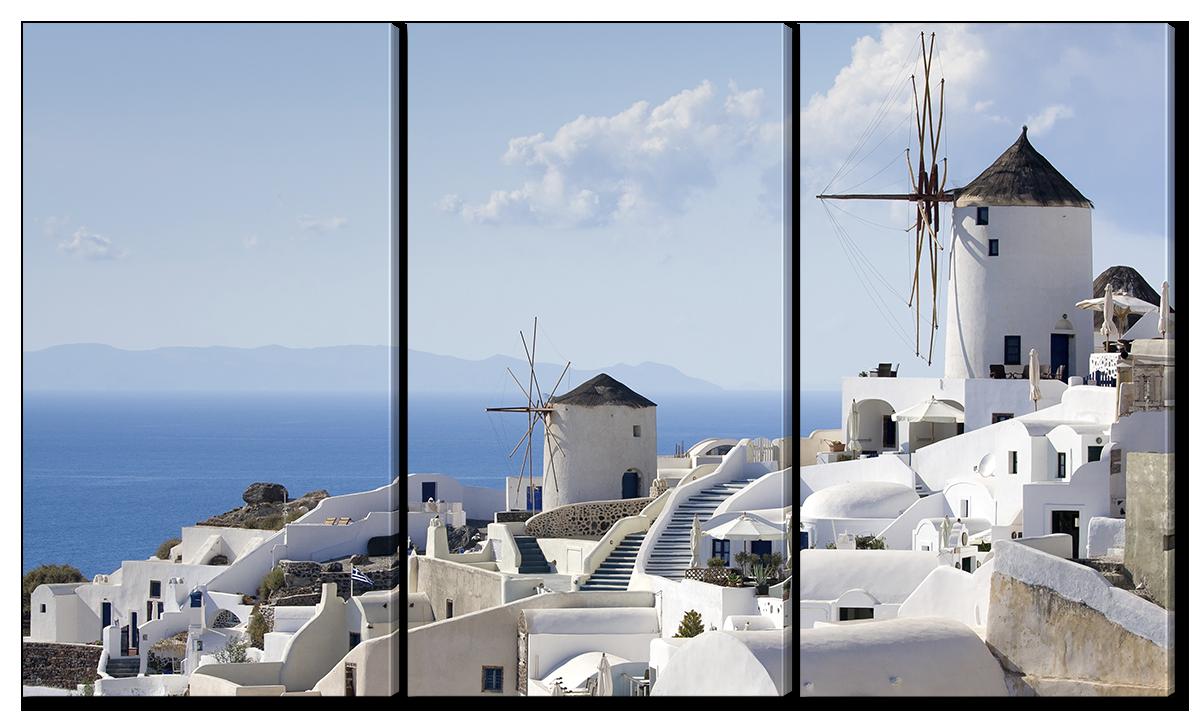 Модульная картина Interno Эко кожа Город Ия Греция 144x82см(A1129XL)