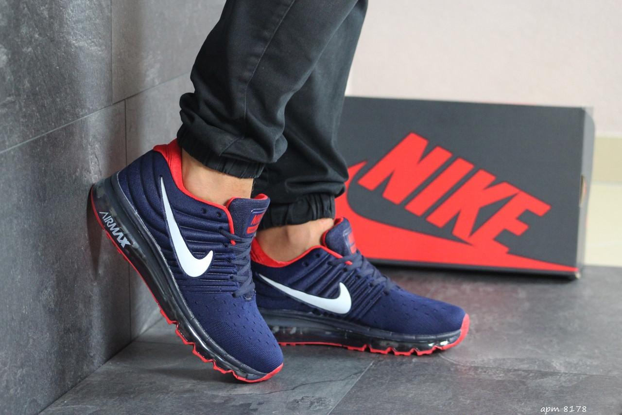 Мужские кроссовки Nike Air Max 2017,темно синие с красным