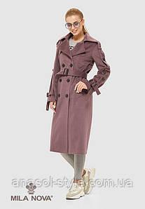Пальто женское демисезонное итальянская шерсть цвет фреза