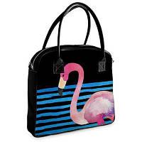 Большая каркасная женская сумка с фламинго. 3 цвета!